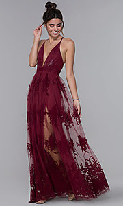 Image of long v-neck illusion open-back dress with print. Style: LUX-LD3452 Detail Image 3