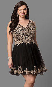 Image of plus-size short prom dress with embellished v-neck. Style: DQ-9422P Detail Image 1