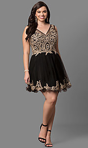 Image of plus-size short prom dress with embellished v-neck. Style: DQ-9422P Detail Image 2