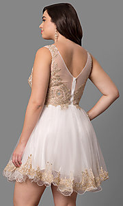 Image of plus-size short prom dress with embellished v-neck. Style: DQ-9422P Back Image