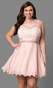 Image of lace-bodice plus-size short prom dress. Style: DQ-9467P Front Image