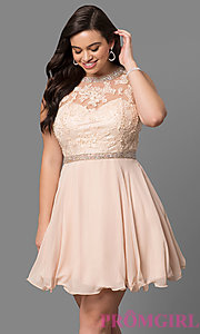 Image of lace-bodice plus-size short prom dress. Style: DQ-9467P Detail Image 2