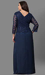 Image of plus-size 3/4-sleeve long lace-bodice formal dress. Style: SF-8837P Back Image