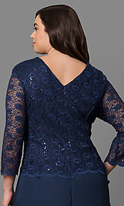 Image of plus-size 3/4-sleeve long lace-bodice formal dress. Style: SF-8837P Detail Image 2