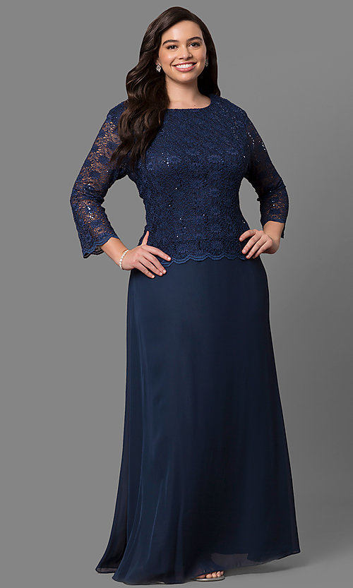 Image of plus-size 3/4-sleeve long lace-bodice formal dress. Style: SF-8837P Front Image