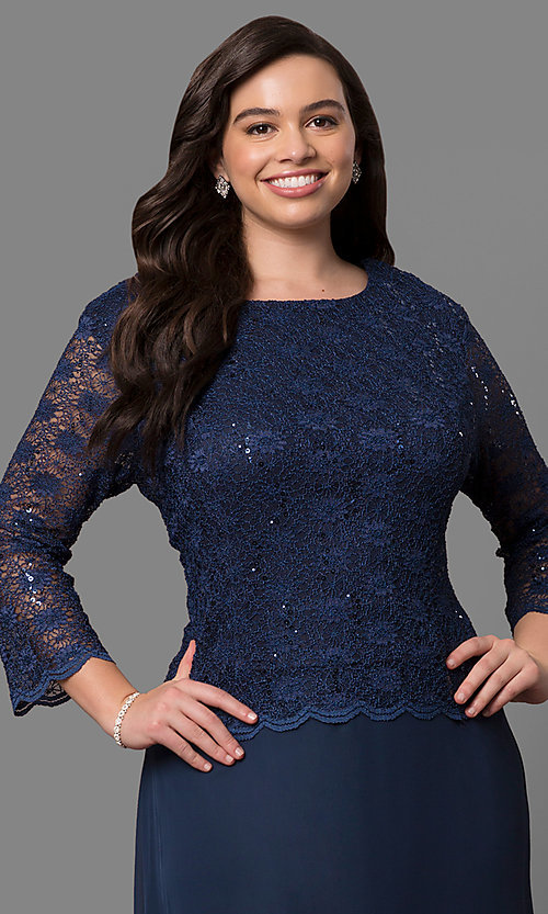 Image of plus-size 3/4-sleeve long lace-bodice formal dress. Style: SF-8837P Detail Image 1
