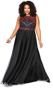 Black High Neck Long Plus Prom Dress