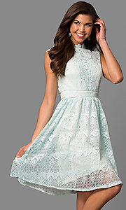 Image of high-neck lace party dress with knee-length hem. Style: LP-24157 Front Image