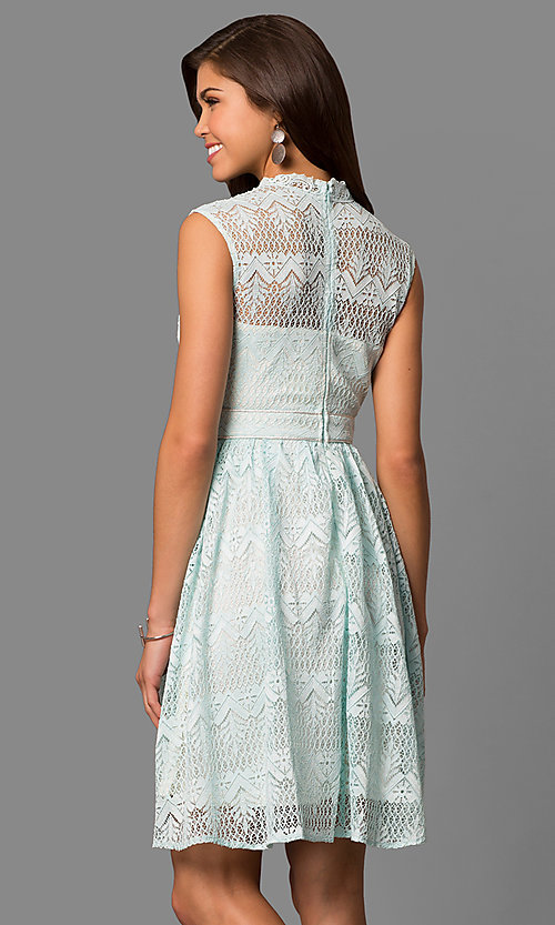 Image of high-neck lace party dress with knee-length hem. Style: LP-24157 Back Image