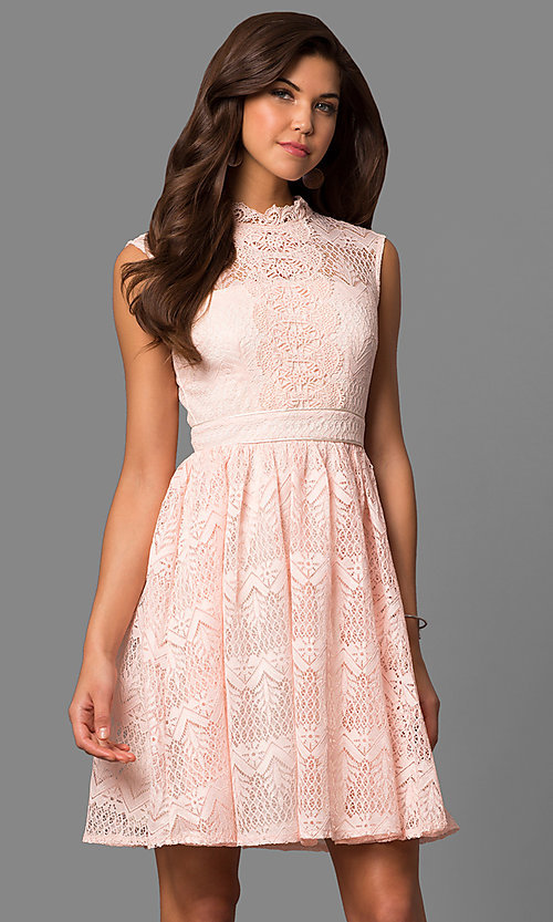 Image of high-neck lace party dress with knee-length hem. Style: LP-24157 Detail Image 1