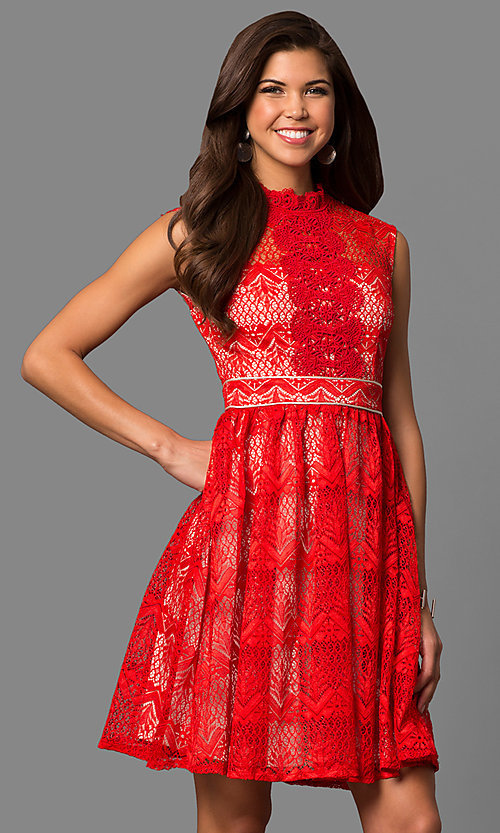 Image of high-neck lace party dress with knee-length hem. Style: LP-24157 Detail Image 2