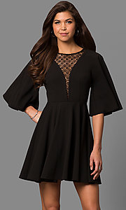 Image of short a-line bell-sleeve party dress with lace inset. Style: LP-24581 Front Image