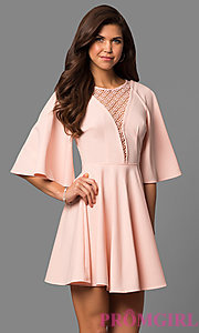 Short A-Line Bell-Sleeve Party Dress with Lace Inset