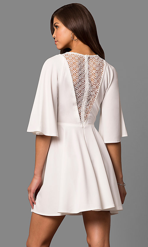 Image of short a-line bell-sleeve party dress with lace inset. Style: LP-24581 Back Image