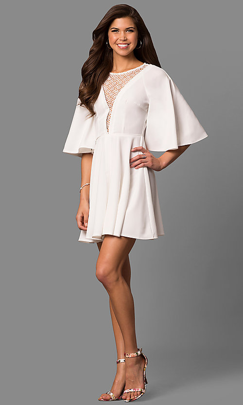 Image of short a-line bell-sleeve party dress with lace inset. Style: LP-24581 Detail Image 2