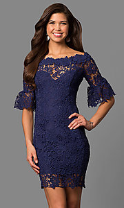Image of bateau-neck short lace party dress with bell sleeves. Style: LP-27072 Front Image