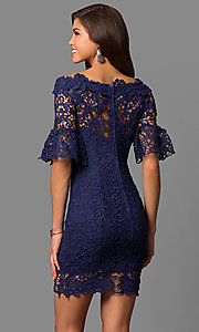 Image of bateau-neck short lace party dress with bell sleeves. Style: LP-27072 Back Image