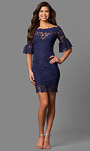 Image of bateau-neck short lace party dress with bell sleeves. Style: LP-27072 Detail Image 1