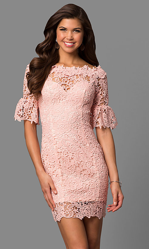 Image of bateau-neck short lace party dress with bell sleeves. Style: LP-27072 Detail Image 2