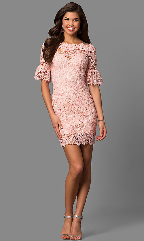 Image of bateau-neck short lace party dress with bell sleeves. Style: LP-27072 Detail Image 3