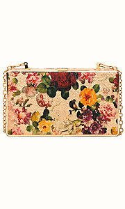Floral Print Vegan Leather Clutch