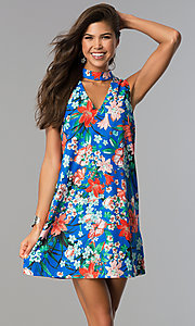 Floral-Print Cobalt Blue Short Shift Party Dress