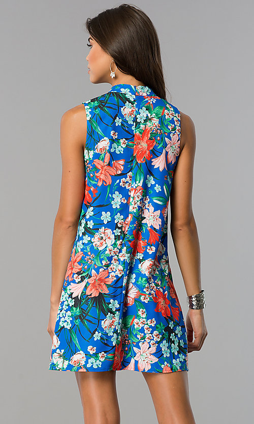 Image of floral-print cobalt blue short shift party dress. Style: XO-9831WPV3 Back Image