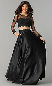 Image of long-sleeve two-piece prom dress with lace bodice. Style: DQ-9950 Detail Image 2
