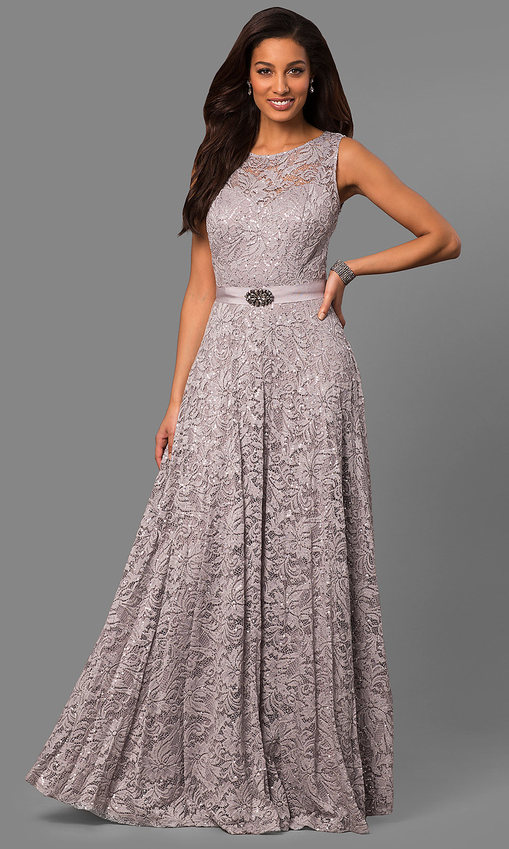 Long Silver Sequin and Lace Mother-of-the-Bride Dress