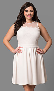 Short Ivory Sleeveless Graduation Dress with Lace