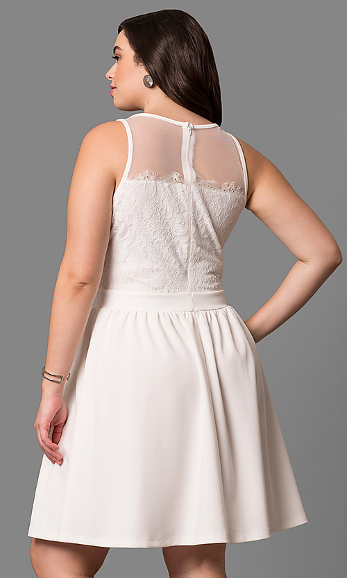 Image of high-neck sleeveless plus party dress with lace. Style: SY-IXD-4630VP Back Image