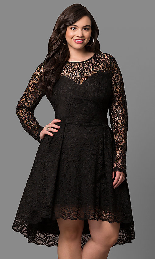Long Sleeve Lace Plus Size High-Low Party Dress