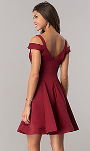 Image of short a-line cold-shoulder homecoming dress. Style: DJ-A6109 Back Image