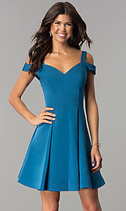 Image of short a-line cold-shoulder homecoming dress. Style: DJ-A6109 Detail Image 3