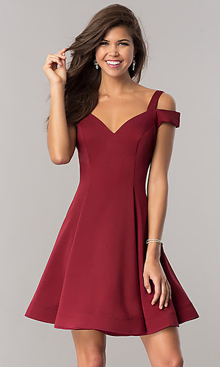 Short A-Line Cold-Shoulder Homecoming Dress