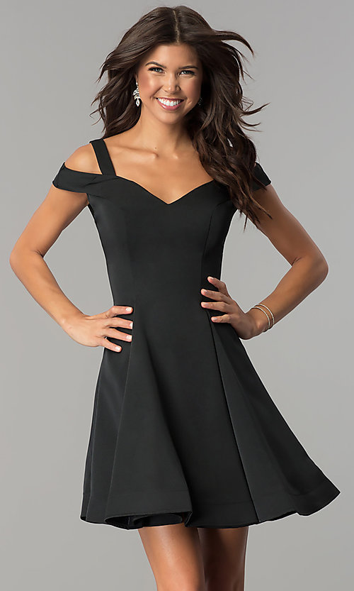 Image of short a-line cold-shoulder homecoming dress. Style: DJ-A6109 Detail Image 2