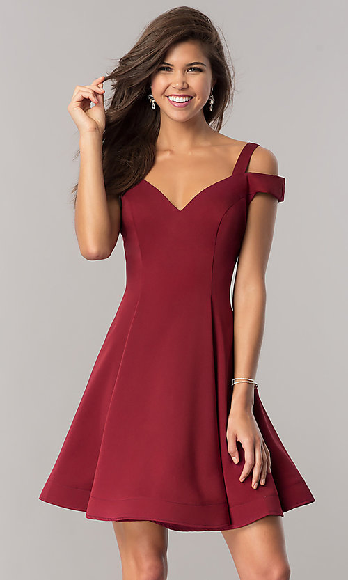 Image of short a-line cold-shoulder homecoming dress. Style: DJ-A6109 Front Image