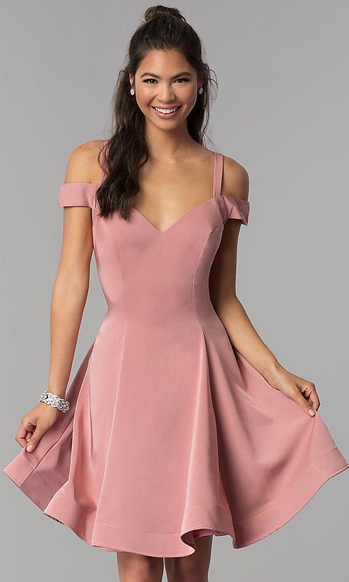 Image of short a-line cold-shoulder homecoming dress. Style: DJ-A6109 Detail Image 1