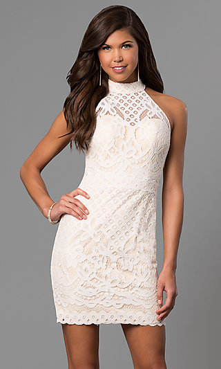 High Neck Short Lace Graduation Dress In Ivory