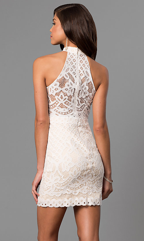 Image of high-neck short lace graduation dress in ivory. Style: DJ-A5769 Back Image