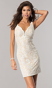 Lace V-Neck Short Homecoming Dress