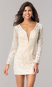Image of long-sleeve ivory beaded short homecoming dress. Style: DJ-A5663 Front Image