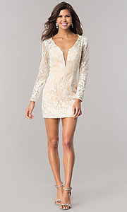 Image of long-sleeve ivory beaded short homecoming dress. Style: DJ-A5663 Detail Image 2