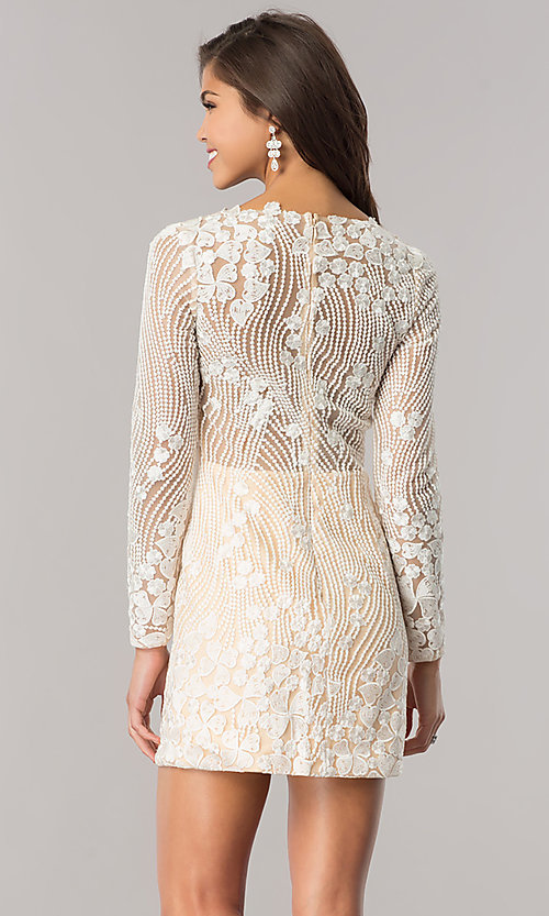 Image of long-sleeve ivory beaded short homecoming dress. Style: DJ-A5663 Back Image