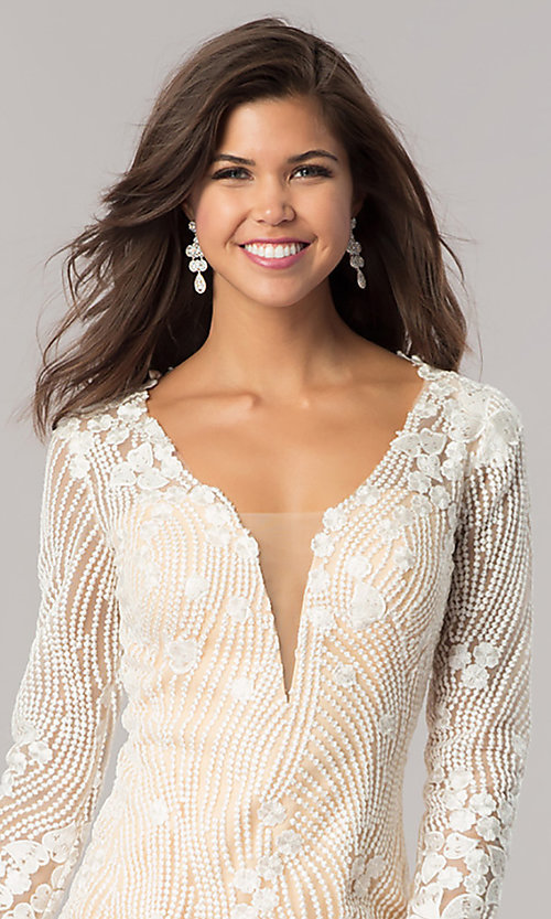 Image of long-sleeve ivory beaded short homecoming dress. Style: DJ-A5663 Detail Image 1