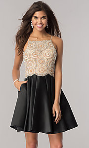 Image of black satin homecoming dress with beaded bodice. Style: DJ-A5406 Front Image