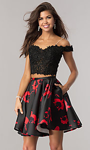 Black and Red Two-Piece Homecoming Dress