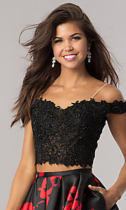 Image of black and red two-piece print short prom dress. Style: DJ-A5733 Detail Image 1