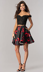 Image of black and red two-piece print short prom dress. Style: DJ-A5733 Detail Image 2