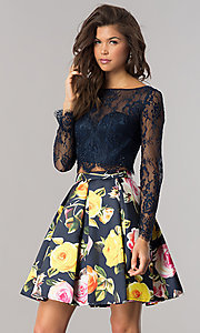 Two-Piece Short Homecoming Dress with Long Sleeves
